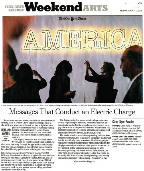 "Cotter, Holland. ""Messages That Conduct an Electric Charge.""  New York Times , March 11, 2011."