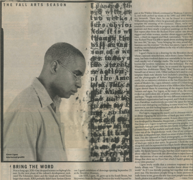 "Tate, Greg. ""Bring the Word.""  Village Voice , September 17, 1996: 30."