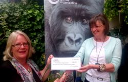 Susan McCraith MW presenting a cheque to the Gorilla Oragnization's Jillian Miller