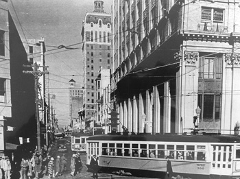Downtown Miami, 1933: In right foreground is the First National Bank of Miami, painstakingly restored as today's Flagler First Condominiums. Romer Collection, Miami-Dade Public Library.