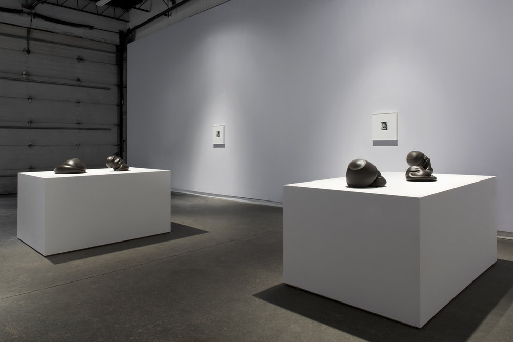 """Sixes and Sevens (2017) ceramic, sizes variable   Kiss Portfolio (2016) gelatin silver print, 4"""" x 5"""", from a portfolio of 8 images  Installation view of  Unruly Matter  at Daniel Faria Gallery, Toronto, Canada"""