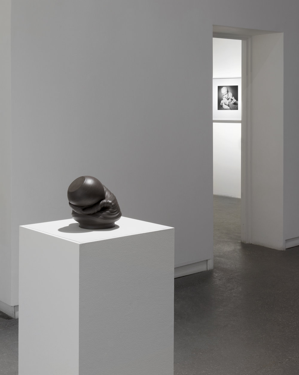 """Sixes and Sevens (2017) ceramic, sizes variable   Lifecast (2017) gelatin silver print, 13.5"""" x 15""""  Installation view of  Unruly Matter  at Daniel Faria Gallery, Toronto, Canada"""