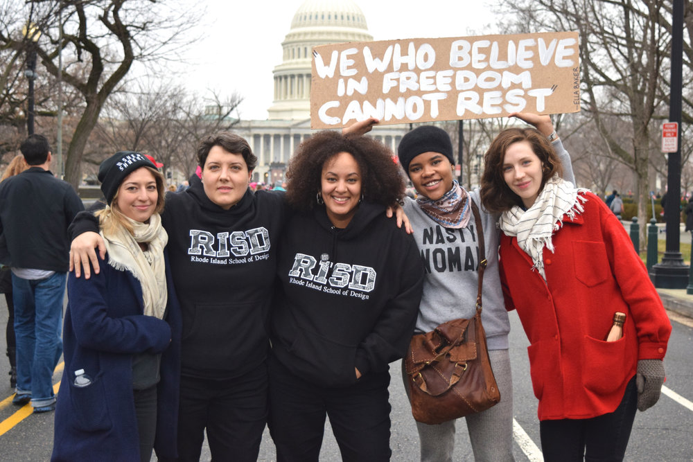 RISD grad students, left to right: Audrey Blood, García Sinclair, Nafis White, Kelly Mitchell, and Anna McNeary. Photo: passerby