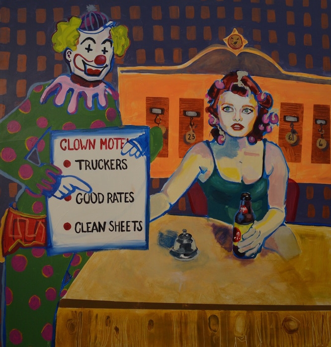 Megan Tresca, Clown Motel, 2017, acrylic on canvas