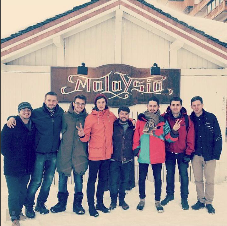 Outside Club Malaysia, Val Thorens, with Roadrunner after a residency