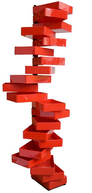 Cappellini's Red Revolving Cabinet by Shiro Kuramata