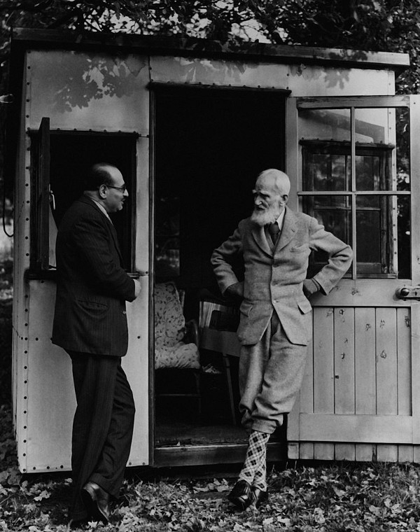George Bernard Shaw at his writer's shed. Photography by Getty Images.