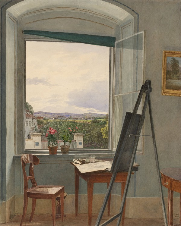 "Jakob Alt, ""View from the Artist's Studio in Alservorstadt Toward Dornbach,"" 1836."