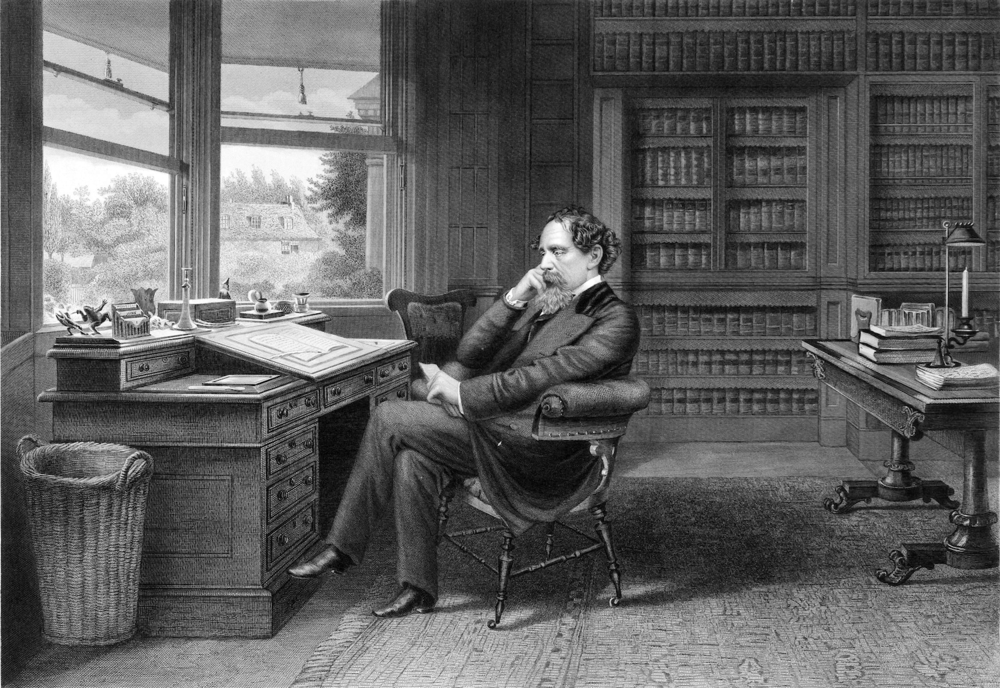 Charles Dickens in his study at Gad's Hill Place, Rochester, United Kingdom. Engraving by Samuel Hollyer. c1875. Library of Congress.