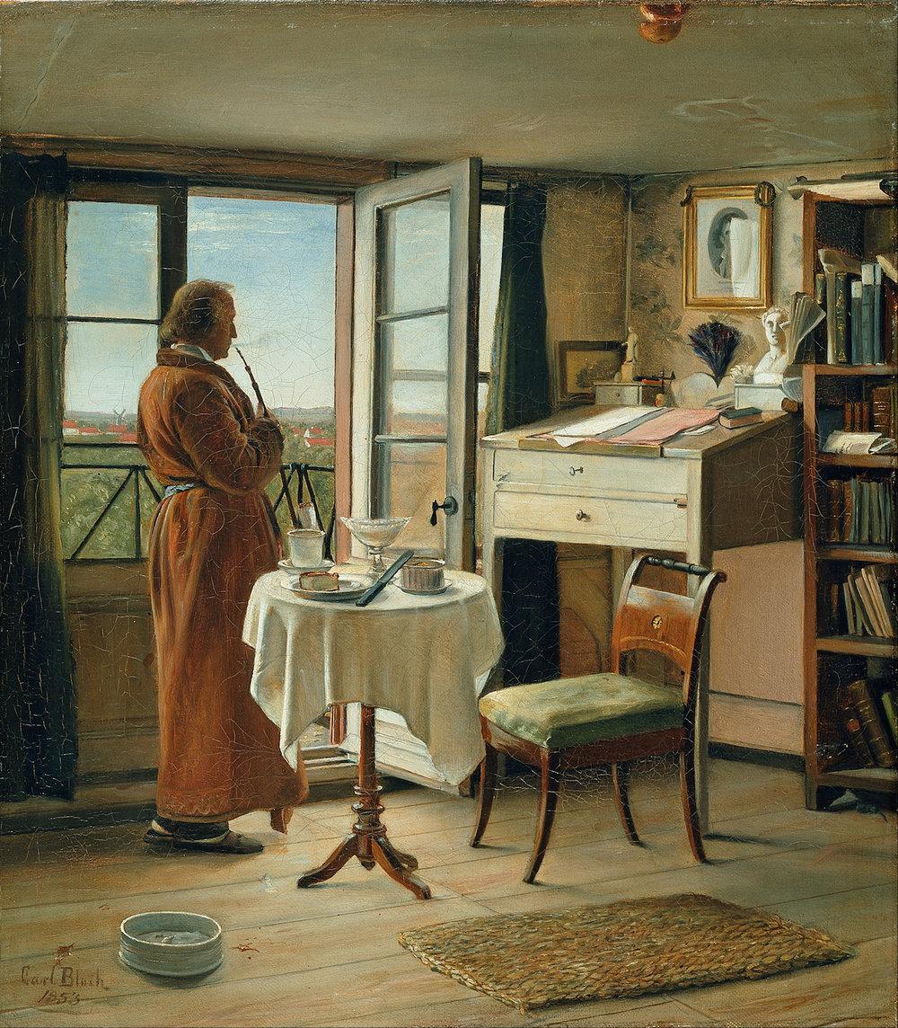 The Actor Kristian Mantzius in his Study by Carl Bloch. Danish. 1853. Hirschsprung Collection, Copenhagen.