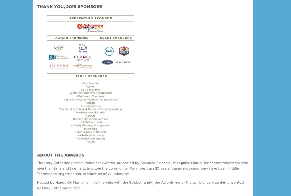 Strobel Volunteer Awards page