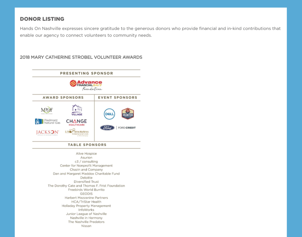 Donor Listing page