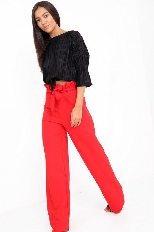4211b8a0e1 Red Wide Leg Paper Bag Waist Trousers — Solh Carter The Black Bobble Cap