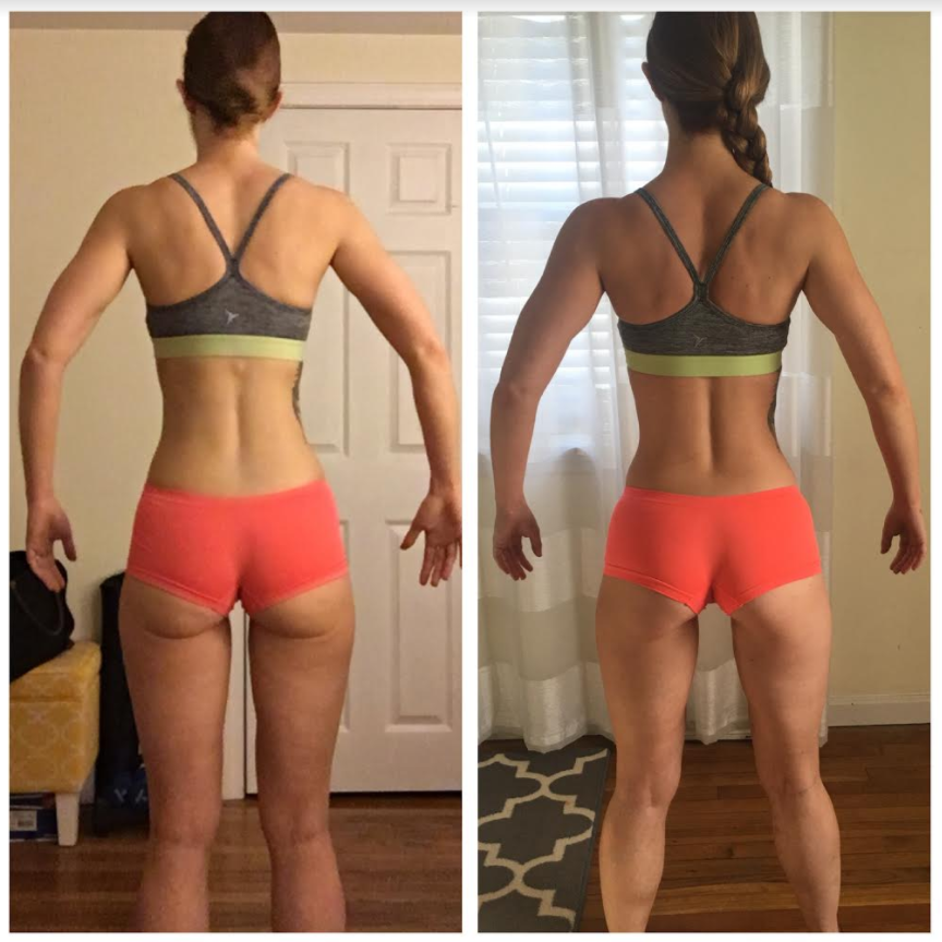 Left: Starting photos I sent to Adam on Dec. 18, 2017. Right: My first TWO WEEK check-in, so much change in just 14 days!