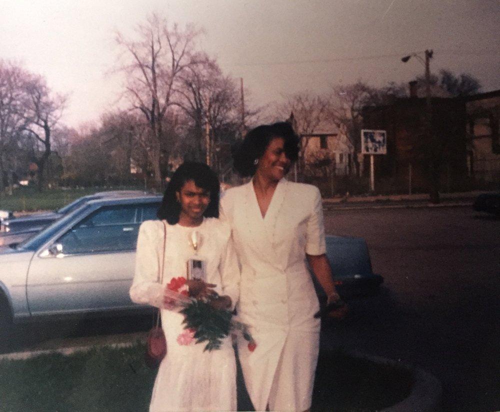 Ingrid LaFleur w/ her mother in Detroit.