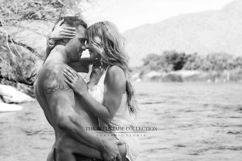 Phoenix Scottsdale Boudoir photographer takes sexy couples boudoir photography at The Salt River Arizona.