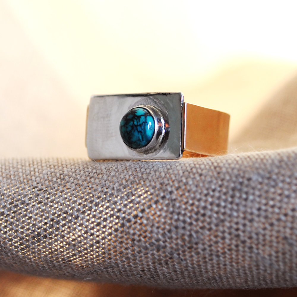 Mixed Metal Turquoise Ring Personal Design