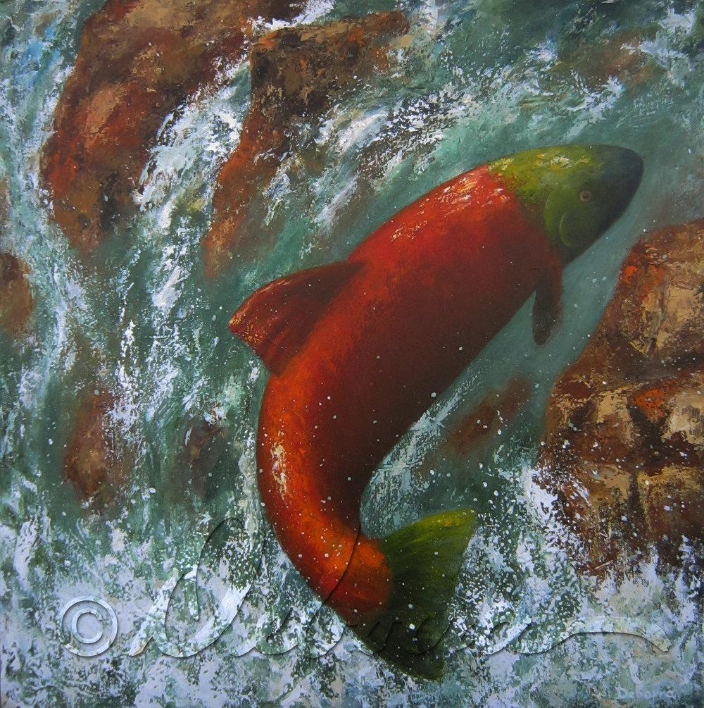 """"""" The Great Return"""" by Deborra Marshall Bohrer (2012). 36""""x 36""""acrylic on canvas."""