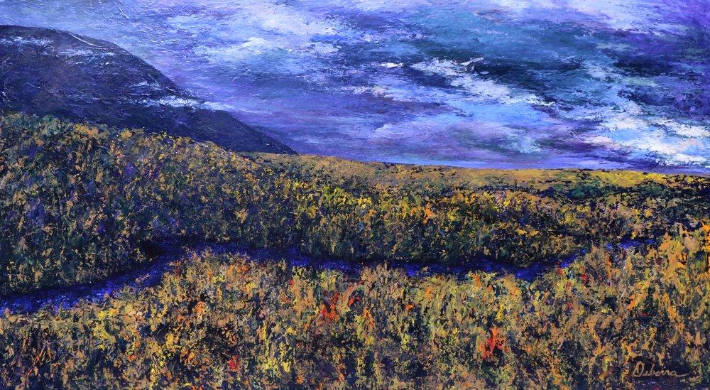 """Lost in the Camas"" by Deborra Marshall Bohrer (2016).   76""x42""  acrylic on birch board."