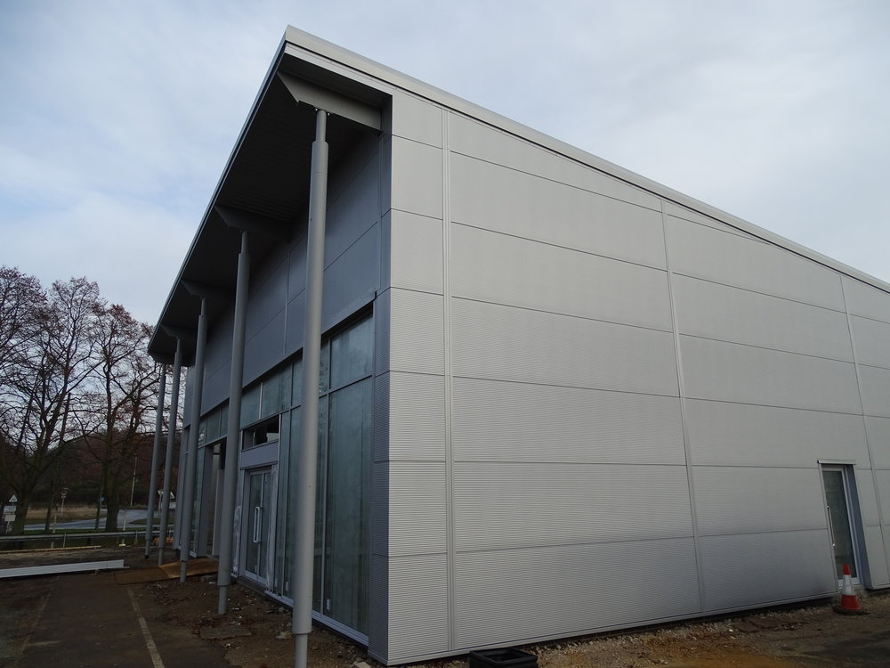 Tata Steel & Profiles Trimapanel horizontal composite wall cladding and Tata Steel & Profiles C19 soffit cladding