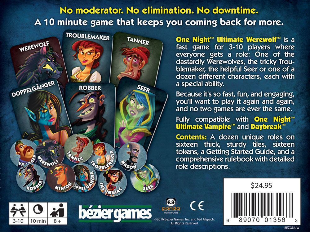 Image is of role cards from One Night Ultimate Werewolf by Bezier Games.