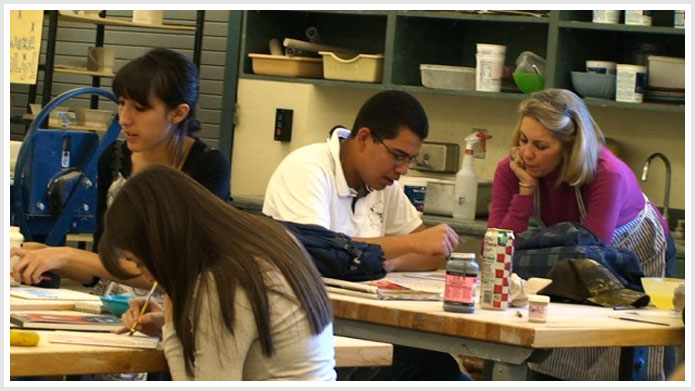 Rebecca Tobey met with students at Santa Fe and Capital high schools to help them create ceramic artwork.