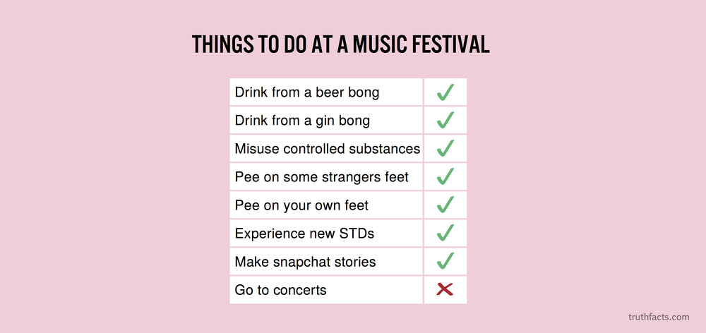 Things to do at a music festival
