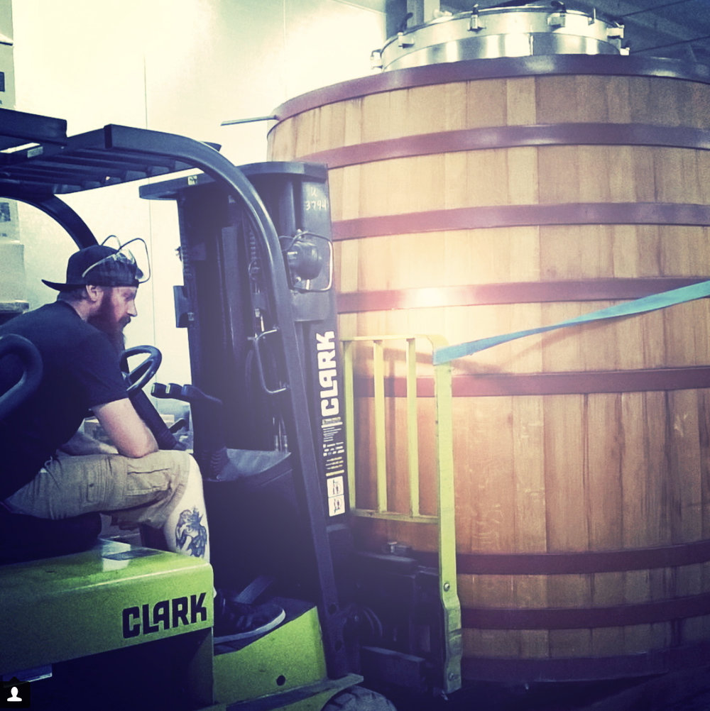 Production Manager Sean moving Gertrude to her new home. Photo Credit: Moragh Goyette