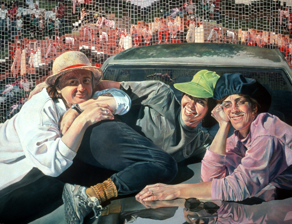 Girlz on the Hood   36 x 48  oil and photomosaic on canvas   private collection.jpg