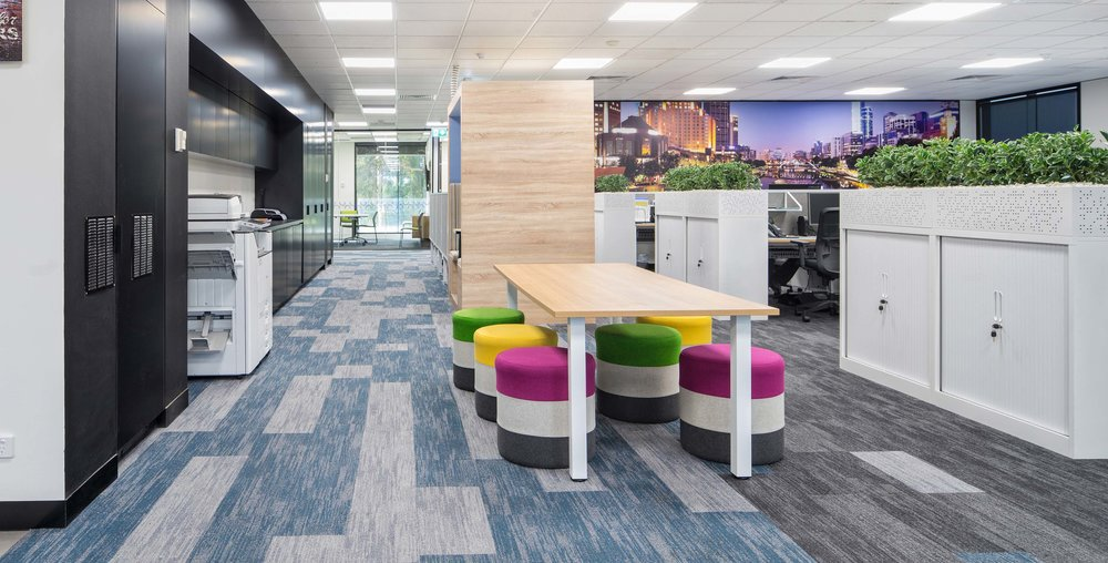 Carpets Inter EcoSoft® plank carpet tiles - Breaking Ground   FRONDITHA CARE, MELBOURNE |  Aboveleft  | Design: Contour Commercial Interiors
