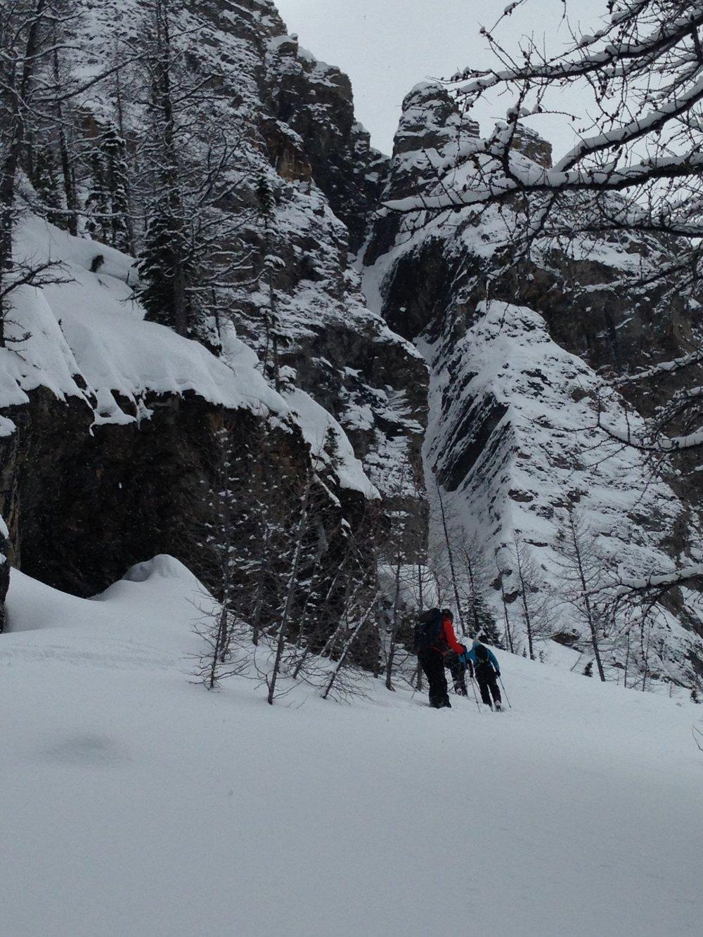 Climbing towards Sphinx Couloir