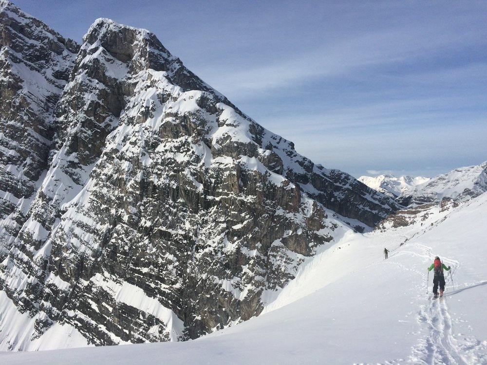 Approaching Canmore Couloir