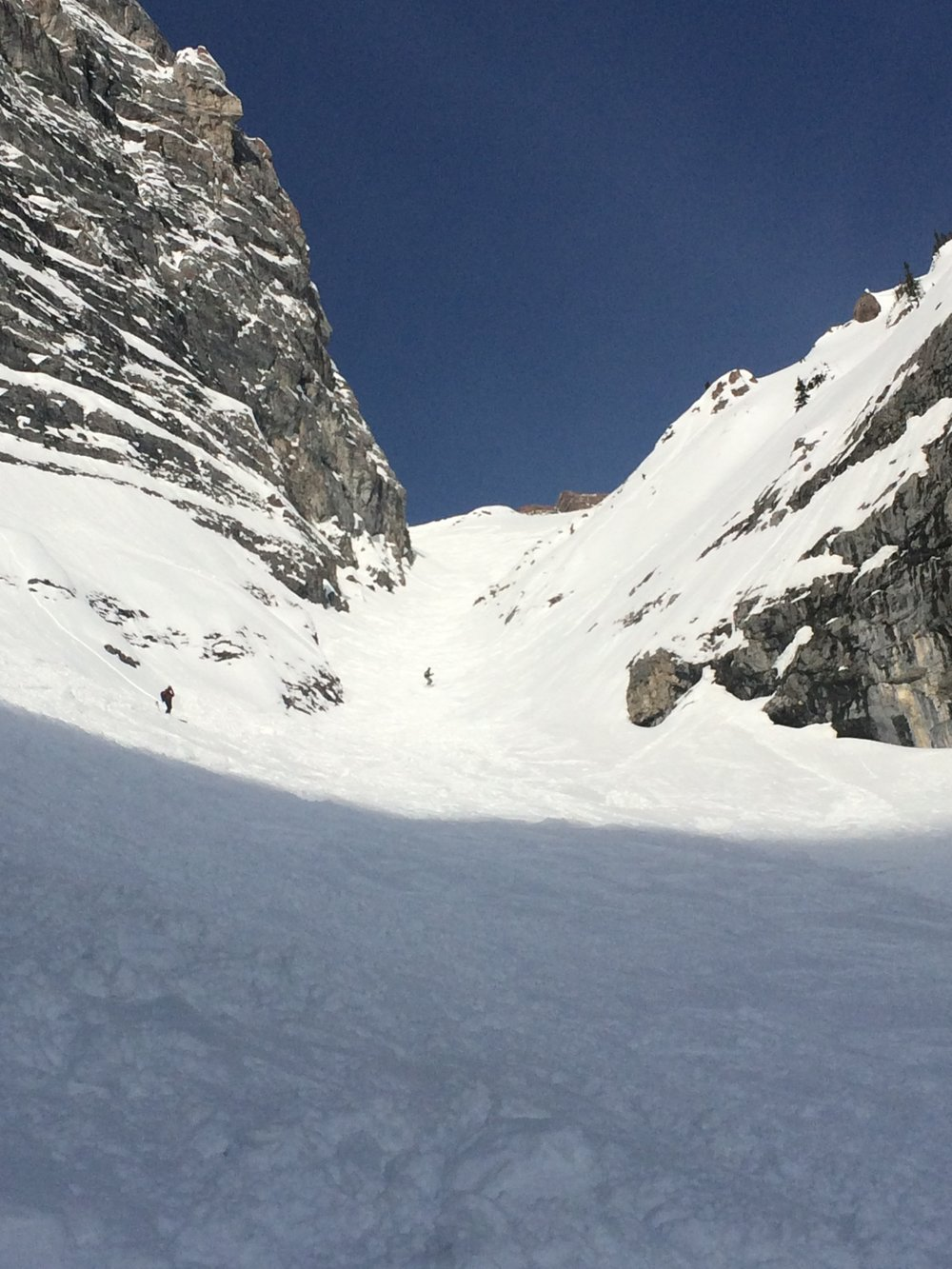 Looking up Canmore Couloir