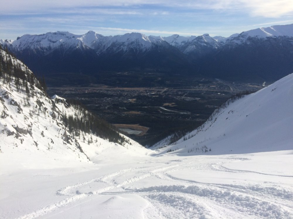 Looking down Miners Bowl towards Canmore