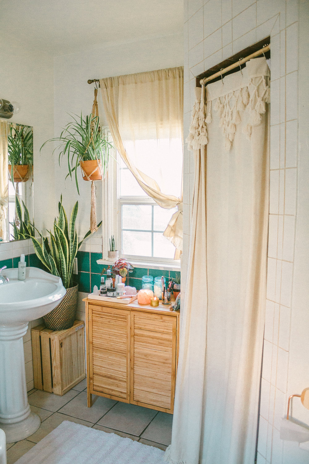 boho bathroom storage