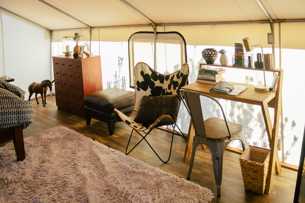 glamping eco tent interior