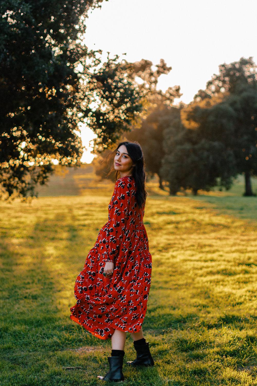 red boho dress