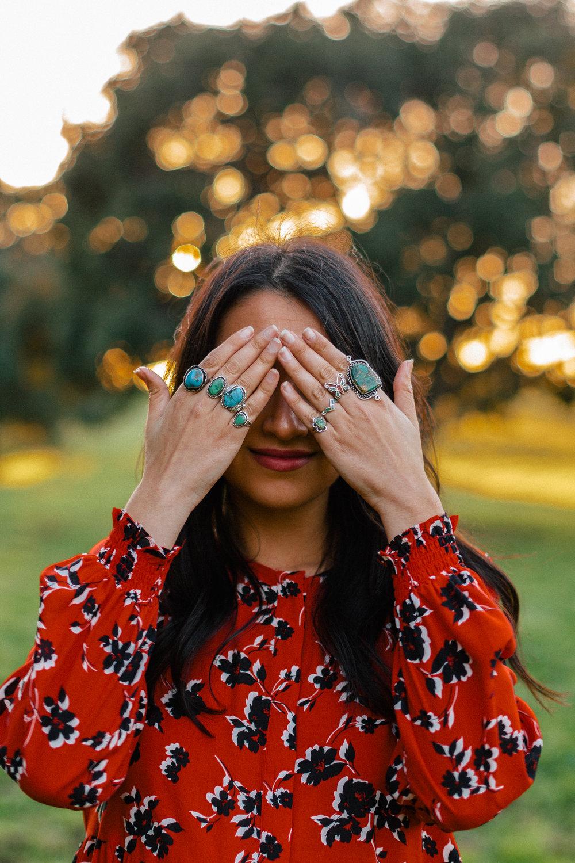 zara red dress turquoise rings