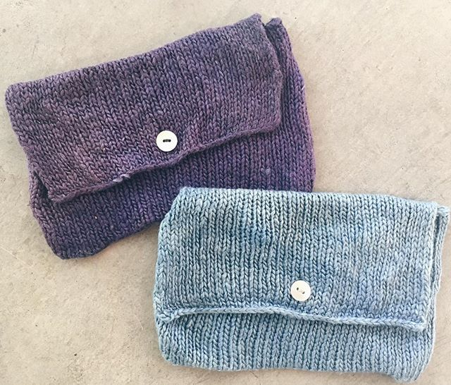 I've got one each left of the silk tarot card pouches, handknit in anamika silk and dyed by  hand: the purple with logwood and the blue with indigo. Each will fit a standard size tarot deck and was $40, now $24. DM to buy!