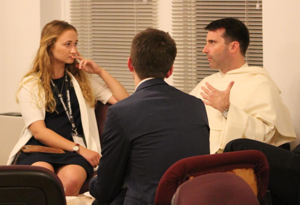 Sylvia (left) and Fr. Dominic Legge, OP (right) at the Civitas Dei summer fellowship last summer.