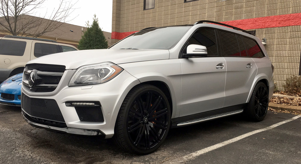 Matte frozen silver GL63AMG wrapped by The Wrap Lab Nashville