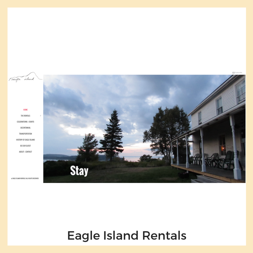 Eagle Island Rentals. Eagle Island, Maine. Website, Email Marketing, Content Strategy + Copy Writing.