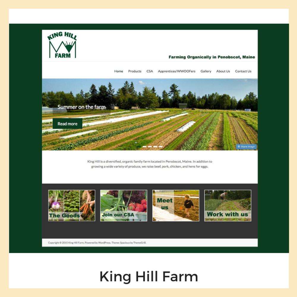 King Hill Farm. Website, Form Design, Graphics.