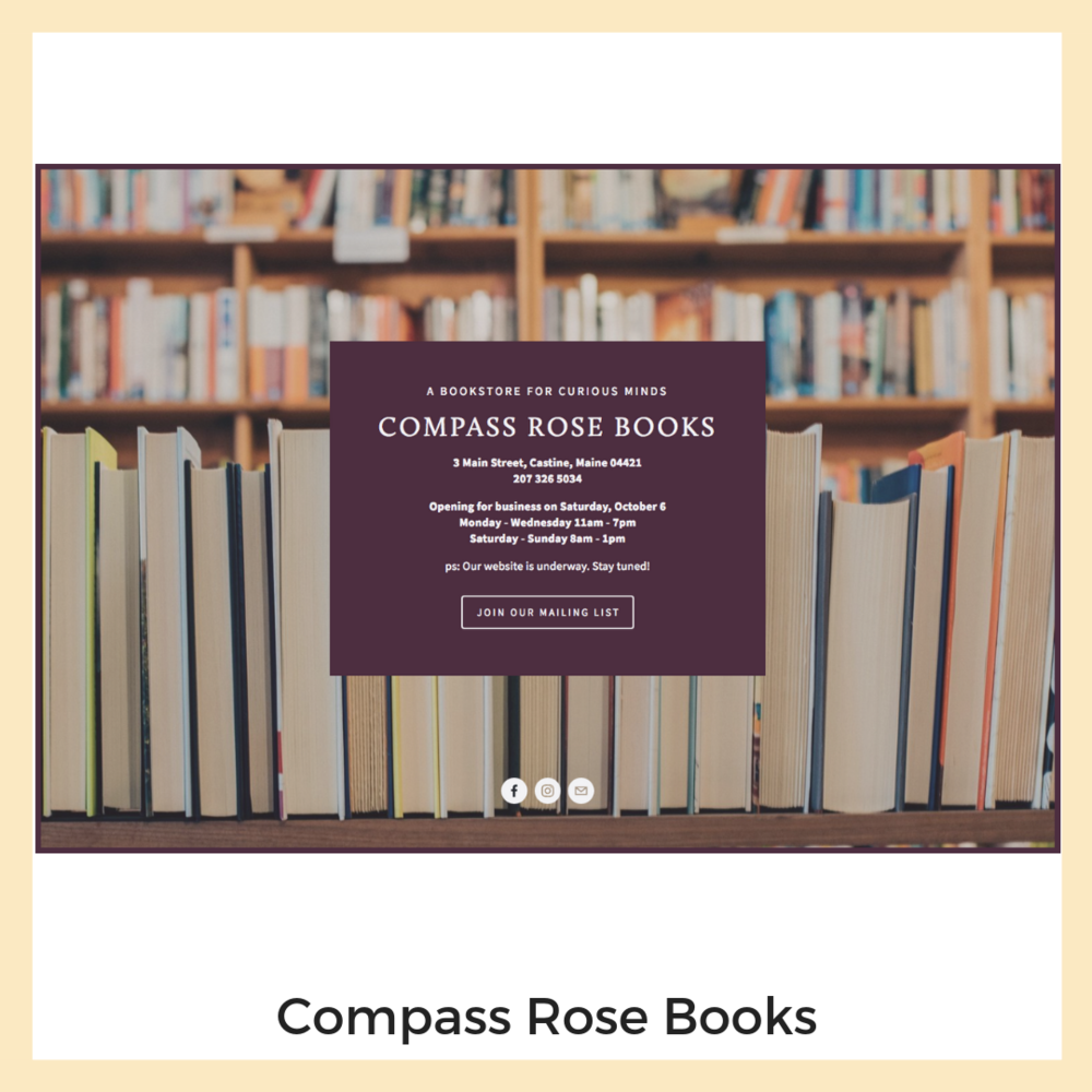 Compass Rose Books. Castine, Maine. Website, Social Media, Email Marketing