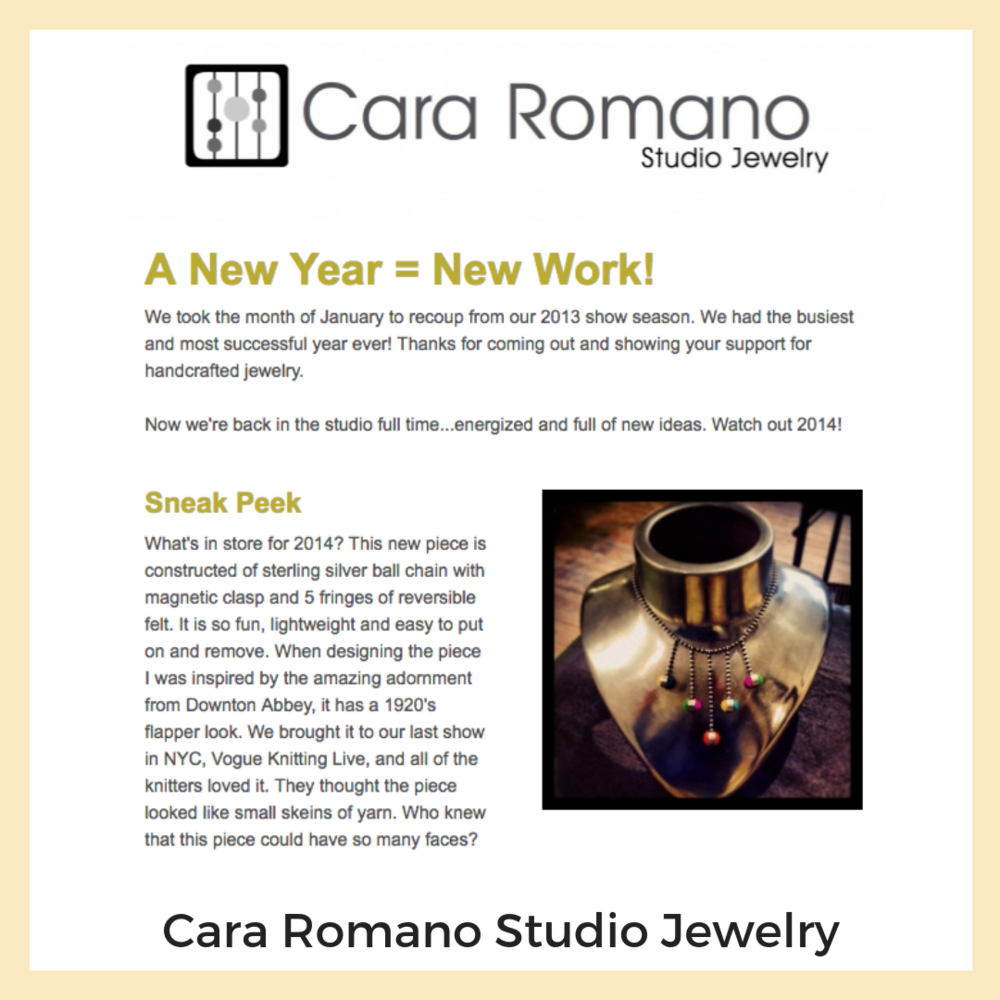 Cara Romano Studio Jewelry. Newsletters + Email Marketing, Social Media, Strategy + Planning