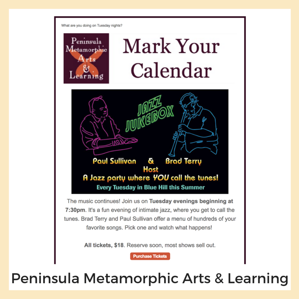 Peninsula Metamorphic Arts & Learning. Newsletters + Email Marketing, Social Media, Form Design, Online Registration, Strategy + Planning