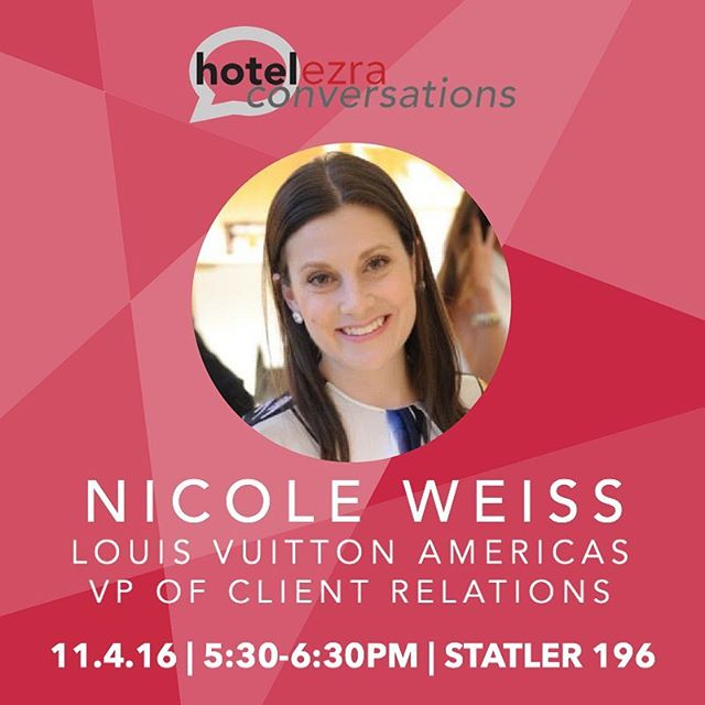 Don't miss out on our last talk about luxury marketing and client relations with Nicole Weiss interviewed by Richy Petrina this Friday! 💬👜 // #hec92 #hotelezraconversations