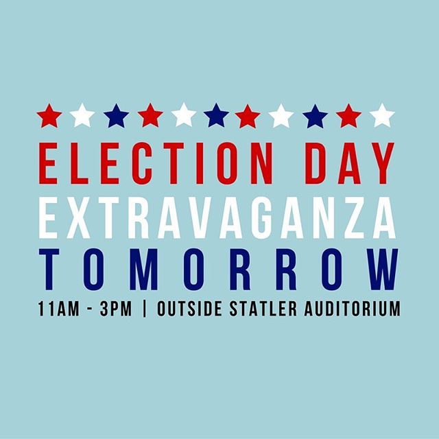Grab a cookie when you stop by the Election Day Extravaganza table outside of the Statler Auditorium TOMORROW! 🍪🇺🇸 // #hec92