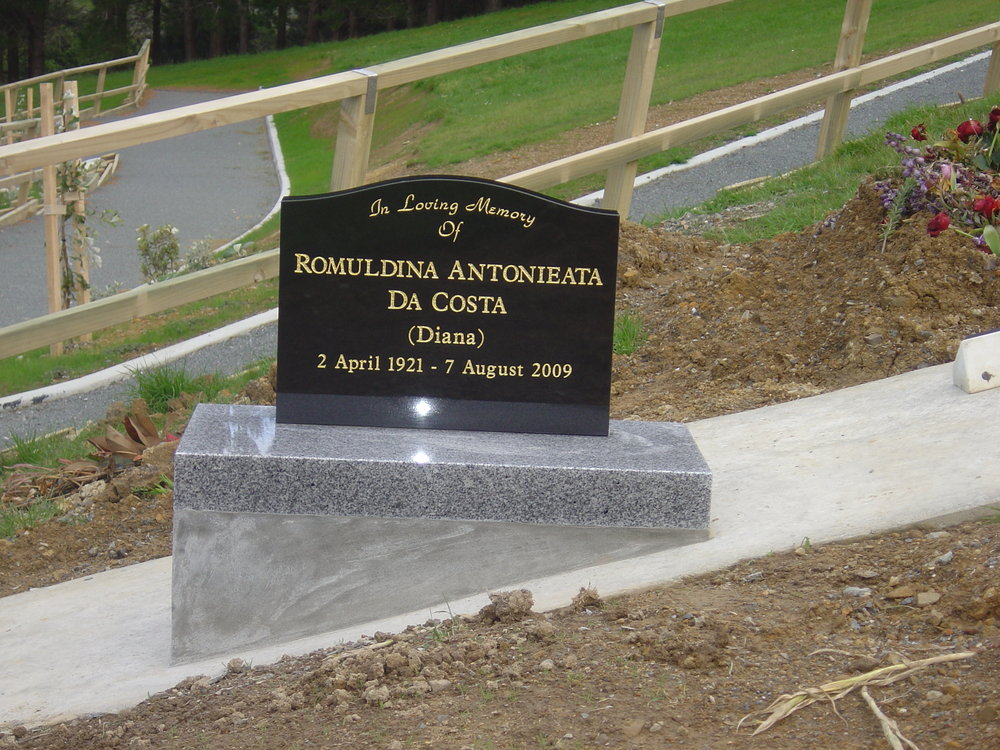 Black granite headstone with white granite base