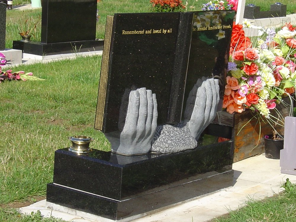 Black Granite Headstone. Bible. Hands. Custom design. Cook Islands.jpg